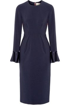 Roksanda - Izumi Paneled Stretch-crepe Midi Dress - Midnight blue - UK14