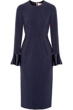 Roksanda - Izumi Paneled Stretch-crepe Midi Dress - Midnight blue - UK14