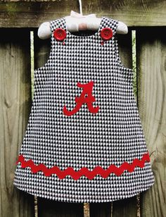 Alabama Crimson Tide A-Line Dress by Ruby Pearl Boutique Style Baby / Girl / Toddler Clothing, Girl /Toddler Alabama Houndstooth Dress - My favorite children's fashion list Little Girl Outfits, Toddler Girl Outfits, Toddler Dress, Kids Outfits, Girl Toddler, Alabama Crimson, Crimson Tide, Baby Dress Design, Cheap Kids Clothes