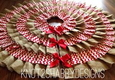 42 inch Red Chevron and Burlap tree skirt by Knot2ShabbyDesigns, $120.00
