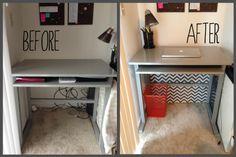 Attractive way to hide cords under desk