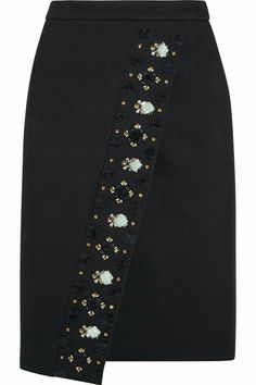 Navy bonded twill Concealed hook and zip fastening at back polyester, viscose, elastane; lining: polyester Dry clean Large to size. See Size & Fit tab. Skirt Pants, Dress Skirt, Jupe Short, Diy Mode, Mode Style, Skirt Outfits, High Waisted Skirt, Fashion Dresses, Rock