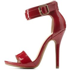 Charlotte Russe Dark Red Belted Ankle Strap Heels by Charlotte Russe... (35650 IQD) ❤ liked on Polyvore