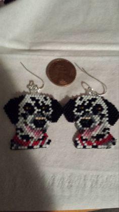 Dalmatian Dog Hand Beaded Earrings by FaeryWolfsFancies on Etsy