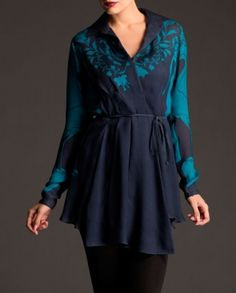 Midnight Blue Tunic with Floral & Flamingo Print