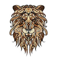Patterned head of the lion. African / indian / totem / tattoo design or illustration. For use in t-shirt print, postcard, poster. Wild cat, leo zodiac). Hand drawn sketch, emblem, logo with doodle