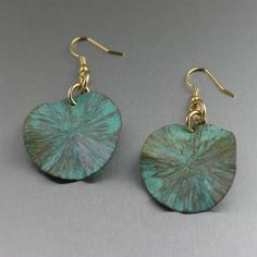 Apple Green Patinated Lily Pad Earrings by johnsbrana on Etsy, $30.00