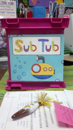 "I love the idea of a ""Sub Tub"" so that when I begin teaching, and I know I am not going to be at school one day I can put EVERYTHING the substitute will need in ONE place. It would make it easier for me and the substitute teacher. Kindergarten Classroom, Future Classroom, School Classroom, School Teacher, School Fun, Classroom Decor, School Stuff, Classroom Libraries, Classroom Hacks"