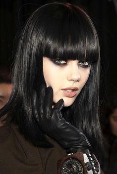 straight bangs, shiny long, black hair