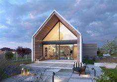 Projekt domu Z pomysłem 1 106,8 m2 - koszt budowy - EXTRADOM Minimal House Design, Minimal Home, Modern Farmhouse Exterior, Farmhouse Design, Prefab Extensions, Modern Barn House, Surf House, Long House, Roof Styles