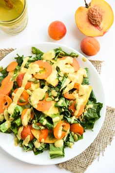 Kale and Stone Fruit Salad with Balsamic-Peach Vinaigrette #Recipe