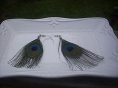"Peacock Feather Dangle Earrings Chandelier Hook 3"" Drop $5.99  Ships FREE yardsellr.com/tarastreasures"