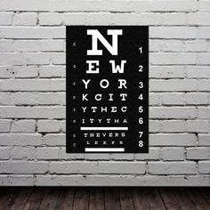 Eye Chart - New York City Poster - Typography Print - Modern Home Decor - City Map - Quote Art - Gift -11x17