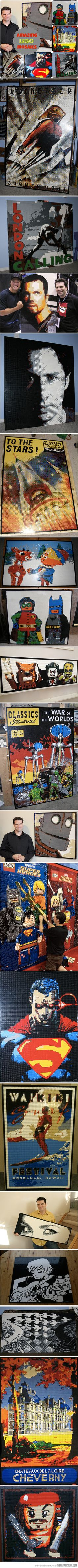 Amazing Lego Mosaics…  Would love to frame one of these.   We frame lots of jigsaw puzzles at Fix-a-Frame in Brisbane but I'm yet to frame a LEGO Artwork