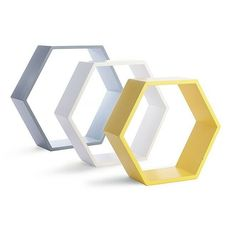 Set Of 3 Shelves Hexagon Wooden Wall Mounted Grey, Yellow Mustard And White  New