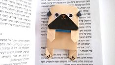 Cute Origami Pug Bookmark Unique Pape Bookmark Black by JollyCards