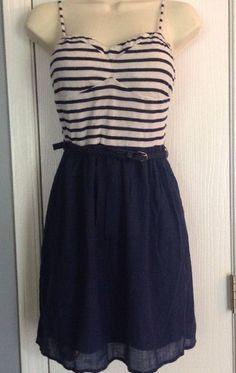 Charlotte Russe Navy Blue White Striped Summer Dress Sz M | eBay