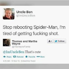 "3,266 mentions J'aime, 27 commentaires - earth's mightiest heroes (@buckysdefencesquad) sur Instagram : ""don't know if i should laugh or cry #spiderman #peterparker #marvel #mcu #avengers #uncleben…"""