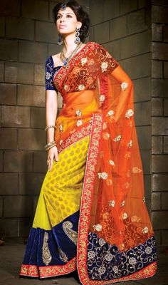 Orange and Yellow Embroidered Net Half N Half Saree Price: Usa Dollar $212, British UK Pound £124, Euro156, Canada CA$228 , Indian Rs11448.