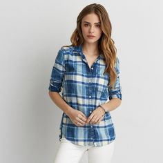 AEO Boyfriend Plaid Shirt ($45) ❤ liked on Polyvore featuring tops, indigo, tartan plaid flannel shirt, pattern shirts, button front tops, button front shirt and american eagle outfitters