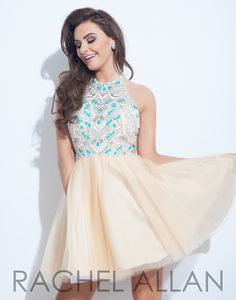 Soft Tulle nude A-line with multi-colored Aqua matted stones and it's at Rsvp Prom and Pageant, Atlanta, GA!