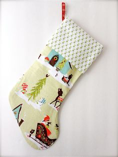 Modern Christmas Stocking  Alpine Wonderland $18.00