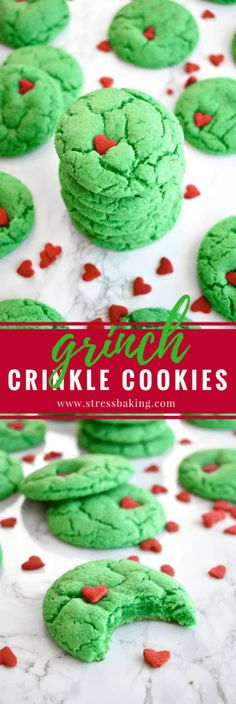 Grinch Crinkle Cookies: Festive, cakey cookies that bear a strong resemblance to a certain Christmas Grinch! Christmas Cookies Grinch, Grinch Cookies, Christmas Cookie Exchange, Christmas Sweets, Holiday Cookies, Christmas Candy, Holiday Baking, Christmas Desserts, Holiday Treats