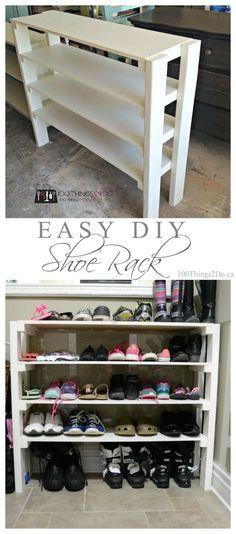 Easy DIY shoe rack Need more #shoestorage? #EasyDIY on the blog today… (Diy House Shoes)