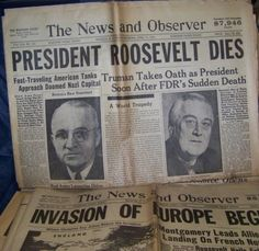 Newspaper Headlines from 1944: President Roosevelt Dies