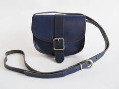 60s  Vintage  Leather Mini Bag  Blue Leather by funkyvintage780