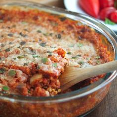 Eggplant Parmesan Quinoa Bake Recipe main-dish, sides, nut free, vegetarian, dinner, italian with 12 ingredients