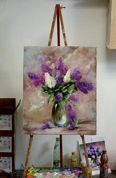 Flowers Painting Acrylic Lilac 28 New Ideas Lilac Painting, Oil Painting Flowers, Abstract Flowers, Wow Art, Acrylic Art, Art Pictures, Flower Art, Painting Inspiration, Watercolor Paintings