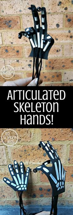 How to make an articulated (jointed) Skeleton's Hand! Fun biology / anatomy science craft idea that kids can make. :) #sciencecraft #funscience #biology #anatomy #scienceactivities #skeleton #skeletonhand #articulatedhand