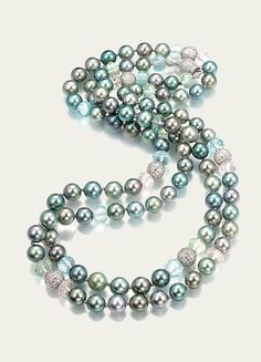 Tahitian Pearl, Aquamarine, Green Beryl & Morganite Necklace
