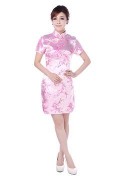 637a8a1e4 JTC Women Cheongsam Short Sleeve Chinese Dress Slim Skirt Wedding Prop  Outfit
