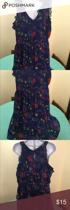 Old Navy Summer Dress Dark blue back ground with pretty spring flowers.  It have a slip built in underneath. Smoke free environment. Old Navy Dresses Mini