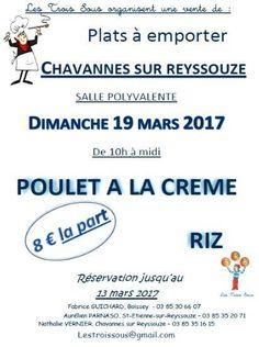 Vente de poulet à crème des trois sous des écoles (Chavannes, Saint-Etienne, Boissey).