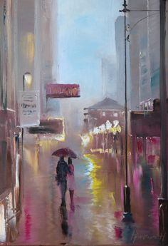 "Saatchi Online Artist: Christina Nguyen; Oil, Painting ""I will not be lonely on this rainy night"""