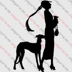 Pegame.es Online Decals Shop  #dog #greyhound #old #vintage #18th_century #lady #vinyl #sticker #pegatina #vinilo #stencil #decal