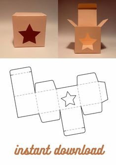 Box Templates Printable Free, Diy Gift Box Template, Paper Box Template, Cardboard Crafts, Paper Crafts, Star Gift, Box Patterns, Wedding Favor Boxes, Diy Crafts For Gifts