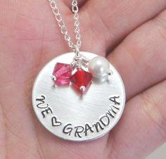 Grandma Necklace, Grandmother Jewelry, Birthstone Jewelry, Personalized Necklace, Name Necklace, Nana Necklace, Grandma, Nannie, ALUMINUM