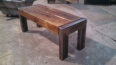 walnut slab table iron legs i beam welding - Google Search