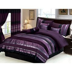 Silver and Purple Bedding - love these colors...would look great w/lime walls