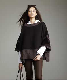 LABEL+thread Quilted Poncho | BLUEFLY