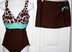 chocolate brown aqua size 12 swimsuit pull on cover up swim suit bathing  #SweetEscape #onepiece