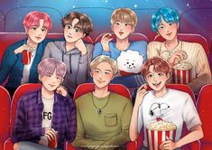 Popcorn, Movie Theatre, and Lights Bts Chibi, Bts Bangtan Boy, Bts Jimin, Bts Anime, Bts Spring Day, Bts Group Photos, Bts Aesthetic Pictures, Cute Anime Pics, Bts Drawings