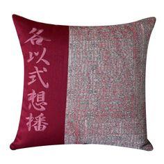 cuscino-con-ideogrammi-ricamati-red-sea-cm-48-x-48 via Polyvore featuring home e home decor
