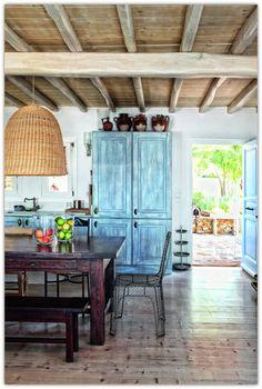 Art Symphony: Bohemian House in Mykonos, Greece. I want this floor in porcelain tile. Bohemian House, Wicker Pendant Light, Pendant Lights, Elsie De Wolfe, Wicker Planter, Wicker Table, Wicker Couch, Wicker Trunk, Wicker Headboard