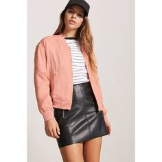 Forever21 Satin Bomber Jacket ($15) ❤ liked on Polyvore featuring outerwear, jackets, salmon, satin bomber jacket, bomber style jacket, zip up bomber jacket, woven jacket and zip up jackets