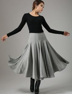 light gray skirt wool skirt midi skirt winter skirt by xiaolizi